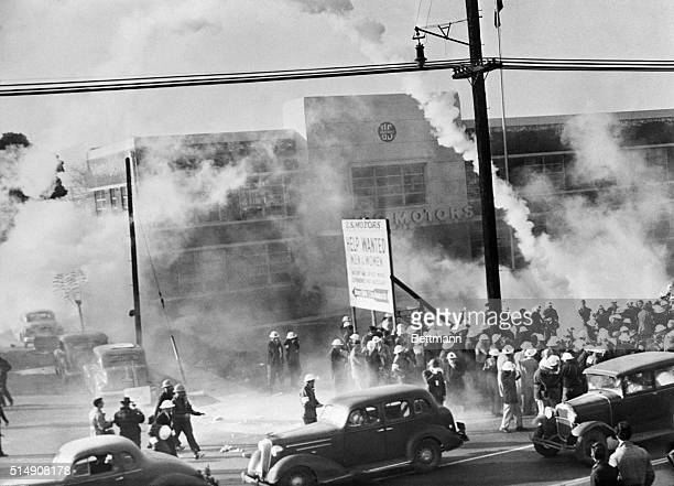 Los Angeles, CA-A general scene outside U.S. Motor plant here showing clouds of tear gas real eased by police in effort to disperse 1,500 rioting...