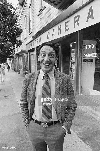 11/9/1977San Francisco Supervisor Harvey Milk poses outside his camera shop after his 1977 election to the Board of Supervisors Milk and Mayor George...