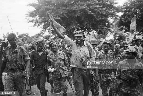 1/1976Gago Goutinho Angola Colonel Samuel Chiwale commanding officer of the National Union for Total Independence for Angola troops in a happy mood...