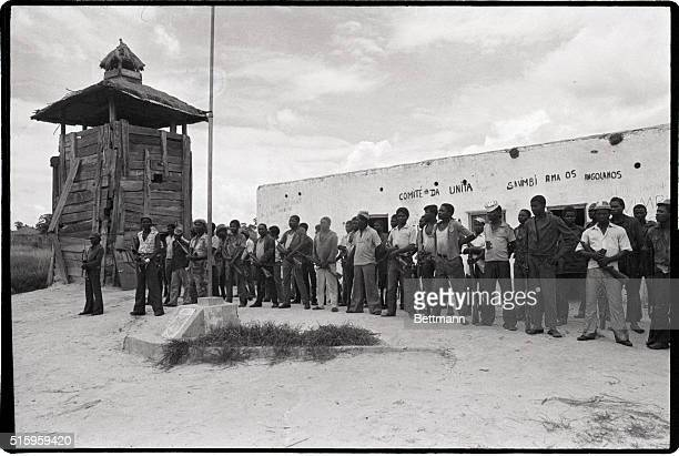 1/1976Luso Eastern AngolaA motley collection of UNITA volunteers on parade at a camp in the strategic railroad town of Luso as their fight against...