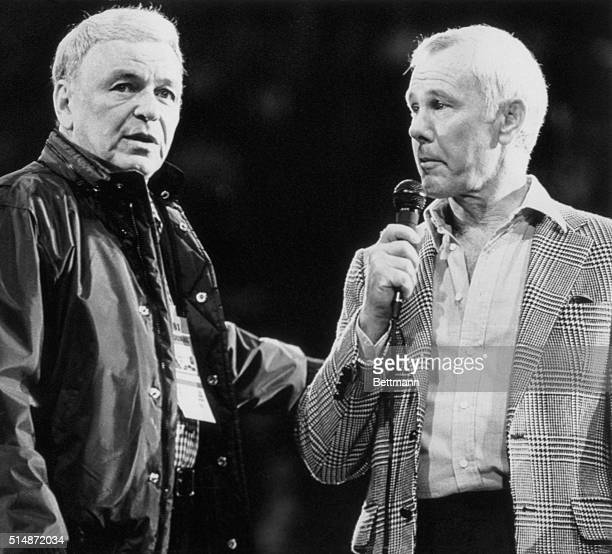 Landover, Maryland: Frank Sinatra and Johnny Carson go over stage directions during Inaugural Gala rehearsal 1/19. Sinatra is producer of the Gala,...