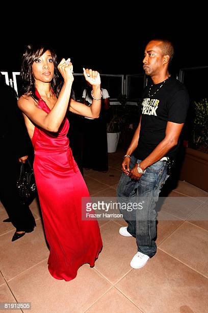 Actor Miguel Nunez Jr dances with Shaun Robinson at her Party held at Blu Beverly Hills on July 12 2008 in Beverly Hills California