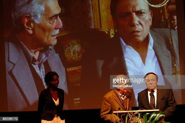 Rama Yade and Abdel Imam attend the Cinema Verite Award Ceremony hosted by Queen Noor of Jordan and Meg Ryan at Opera Bastille on October 11 2008 in...