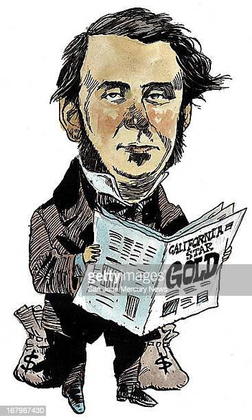 11p x 18p Jim Hummel color illustration of Sam Brannan California newspaper owner who confirmed 1848 golf rush find