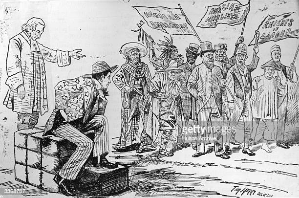 A lithograph by Tom Merry from the St Stephen's Review which satirizes the diverse nature of the American population and the political views which...