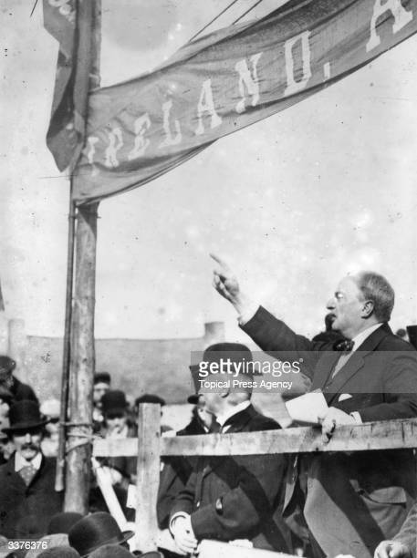 Irish politician John Edward Redmond the champion of Home Rule and chairman of the Nationalist Party in 1900 speaking out for Home Rule