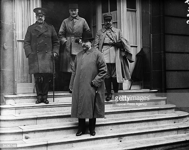French mathematician and statesman Paul Painleve standing with military commanders on the steps of the Ritz. He was Minister for War, twice Air...