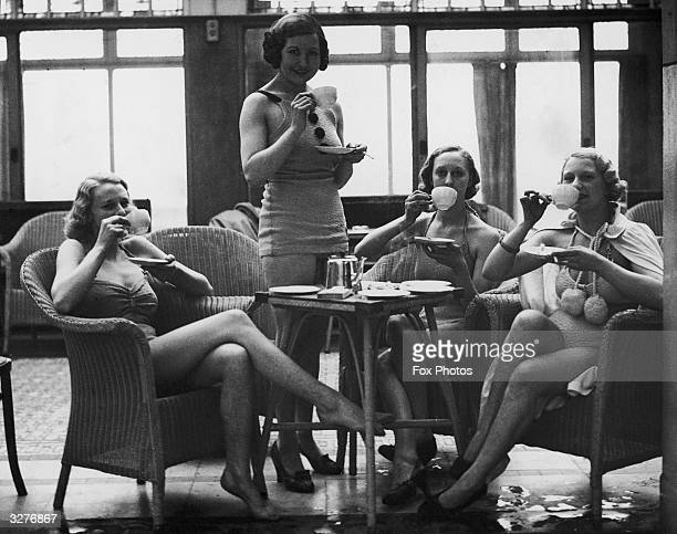 Holidaymakers enjoying a cup of tea in the sun lounge at Blackpool Tower.