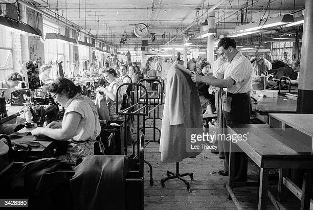 Production floor of a garment factory off Whitechapel Road in the heart of London's Jewish quarter