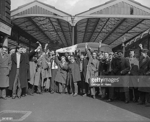 A crowd of Scottish football supporters at Euston Station London for the international match against England at Wembley Stadium Matches between the...