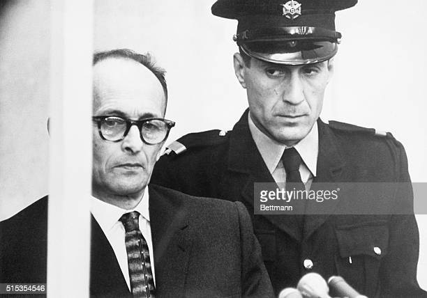 11th April 1961-Jerusalem, Israel- A thin faced Adolf Eichmann listens to the reading of a 15 count indictment, accusing him of the murder of...