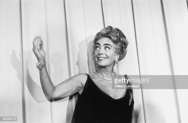 American film actress Joan Crawford at the Oscars award ceremony in Hollywood