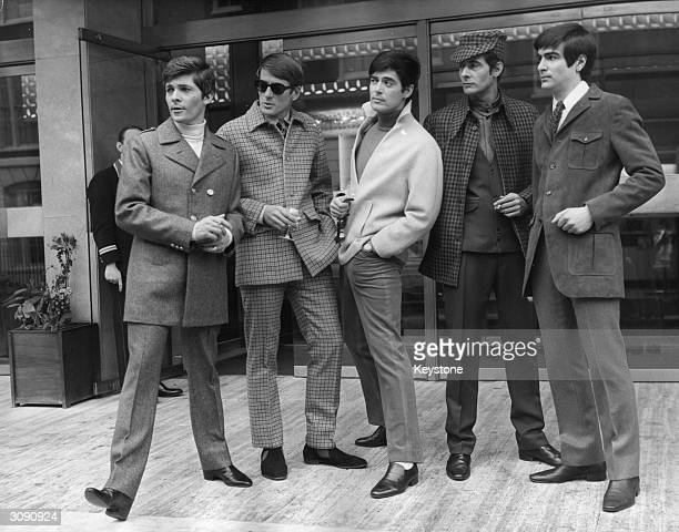 Five men's styles from the International Fashion Council's fashion show Man '67 at the Europa Hotel London From left to right the suits are designed...