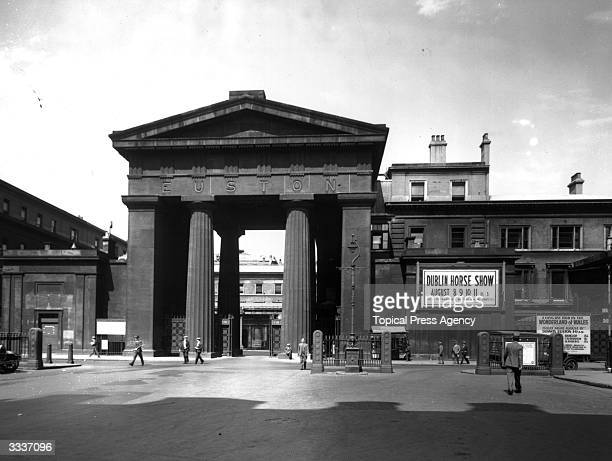 The Neo-Classical entrance arch to London's Euston station, which was demolished in 1962.