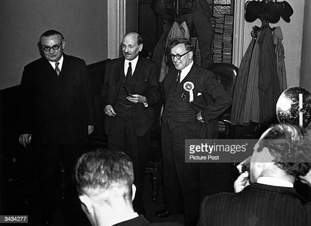 Ernest Bevin , Clement Attlee and Herbert Morrison meet supporters at Victory Hall, Leicester after their success in the first elections after World...