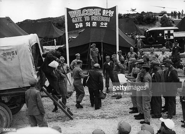An exchange of prisoners between the United Nations and the Communists at Panmunjom Korea