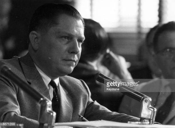 American labour leader Jimmy Hoffa President of the Teamster's Union testifying at a hearing investigating labour rackets Rumoured to have mafia...