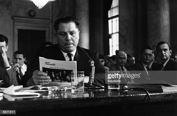 American labour leader Jimmy Hoffa President of the Teamster's Union testifying at a hearing into labor rackets Rumoured to have mafia connections...