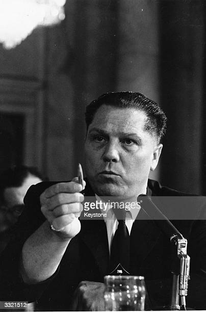 American labour leader Jimmy Hoffa President of the Teamster's Union testifying at a hearing investigating labor rackets Rumoured to have mafia...