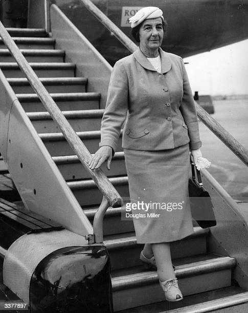 Russianborn Israeli minister of foreign affairs Golda Meir arriving at London airport