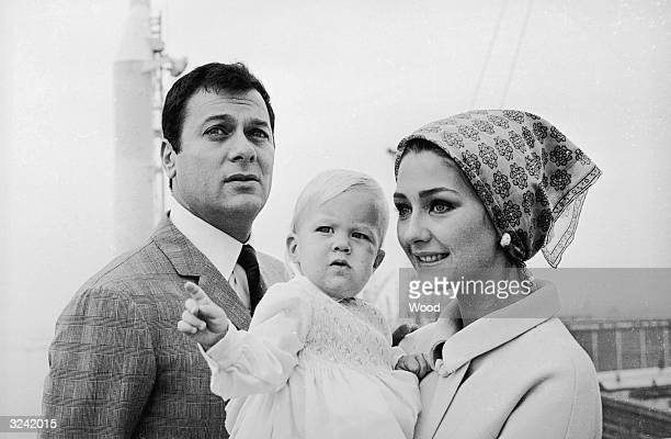 American actor Tony Curtis with his wife Christine Kaufmann and their daughter Alexandra in Southampton
