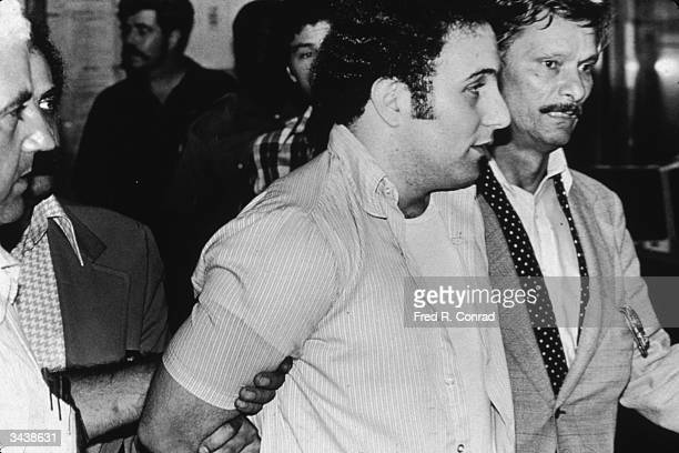 American serial killer David 'Son of Sam' Berkowitz being taken into police custody New York City