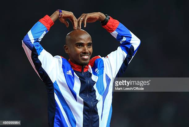 11th August 2012 London 2012 Olympic Games Athletics Men's 5000m Final Mo Farah celebrates victory