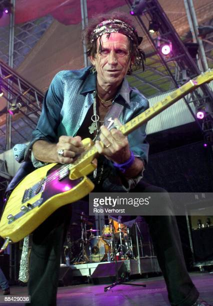 Keith Richards from The Rolling Stones performs live on stage during the Licks tour at Feijenoord Stadion Rotterdam Netherlands on 11th August 2003
