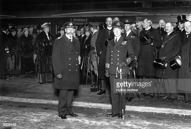 King George V with his eldest son the Duke of Windsor King Edward VIII then Prince of Wales King George VI then Prince Albert is behind the Prince of...
