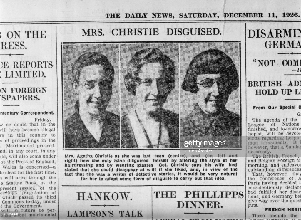 Photographs in The Daily News of detective writer Agatha Christie (1890 - 1976) showing how she may have disguised herself after her disappearance.