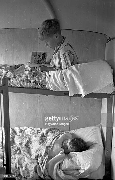 Bedtime for the Leyton family on their bus which has been converted into a compact home at Halton near Lancaster Original Publication Picture Post...