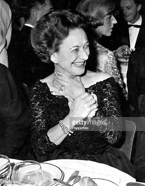 11th December 1959 The Duchess of Windsor at the Party which marked the Gala Opening of the new Lido Revue in Paris with the duke also