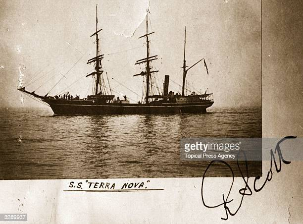 A photgraph of the SS 'Terra Nova' used by Captain Robert Falcon Scott on his illfated Antarctic expedtion to the South Pole and signed by him