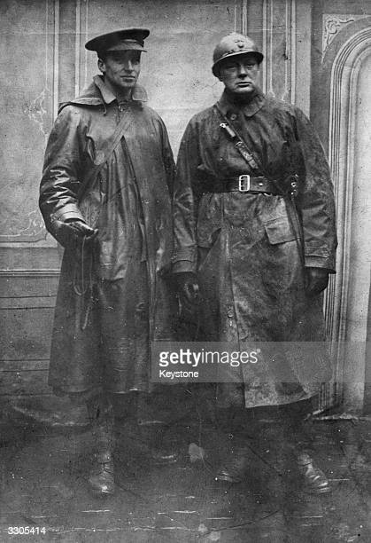 Winston Churchill as 1st Colonel commanding the Royal Scots Fusiliers standing with Sinclair at Armentieres 11 February 1916