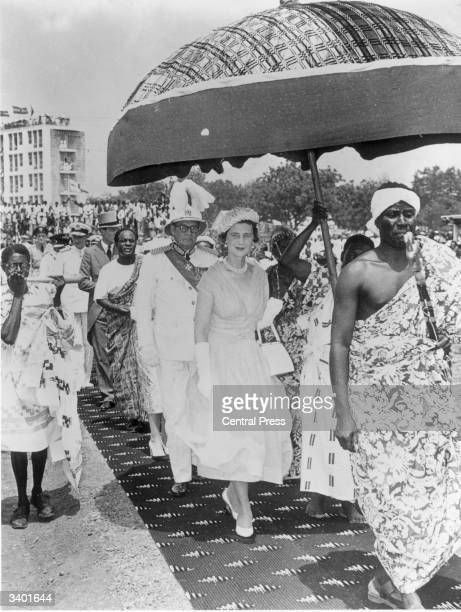 The Queen's representative the Duchess of Kent and governor Sir Charles ArdenClarke attend the Ghanaian Independence ceremonies with Prime Minister...