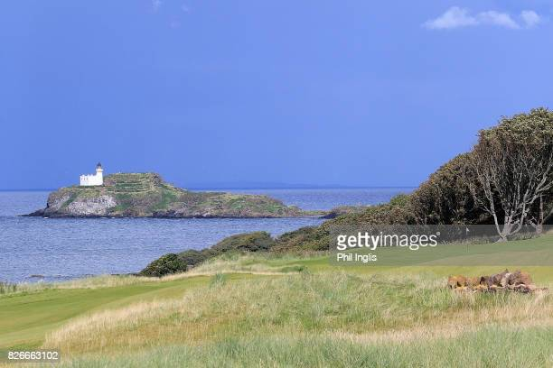 11th green and fidra island during the second round of the Scottish Senior Open at The Renaissance Club on August 5 2017 in North Berwick Scotland