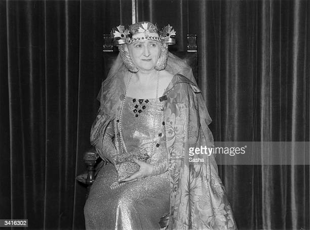 Lady Mountain as Queen Phillippa at Sir Edward Mountain's party thrown at his medieval house 'The Abbey', Campden Hill, London.