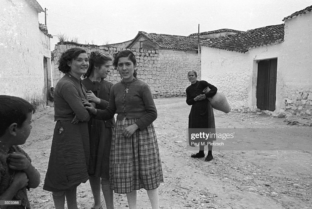 A group of Spanish women in El Toboso, Andalucia, the home ...