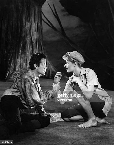 Actors Ian Bannen and Vanessa Redgrave playing Orlando and Rosalind respectively in a scene from Shakespeare's 'As You Like It' at the Aldwych...