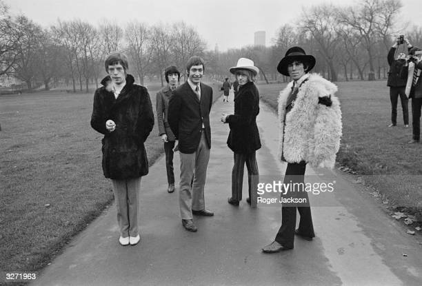 Top British pop group the Rolling Stones taking a stroll through London's Green Park they are from left to right Mick Jagger Bill Wyman Charlie Watts...