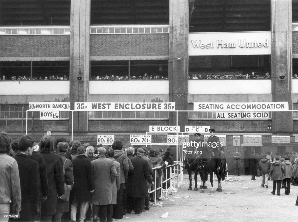 Football fans queuing to get tickets at West Ham's home ground Upton Park for the game against Manchester United.