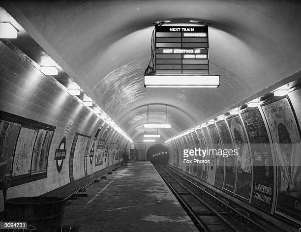 The platform at Bounds Green London Underground Railway Station part of the newly built Piccadilly Line extension