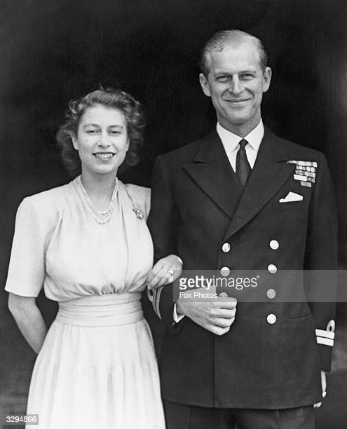 Princess Elizabeth and Prince Philip Duke of Edinburgh at Buckingham Palace London shortly after they announced their engagement
