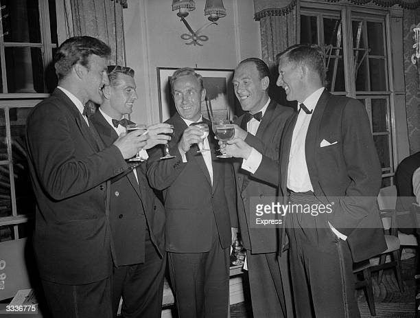 English footballer Billy Wright and comedian Tommy Trinder at a National Sporting Club Dinner
