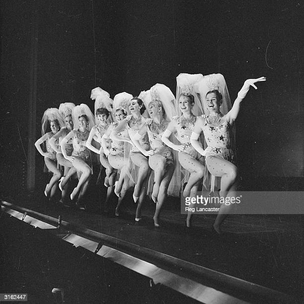 Actress showgirls Peggy Lummins Sylvia Syms Janette Scott Anna Massey Liz Fraser Eunice Gayson Hayley Mills Juliet Mills and Judi Dench rehearsing...