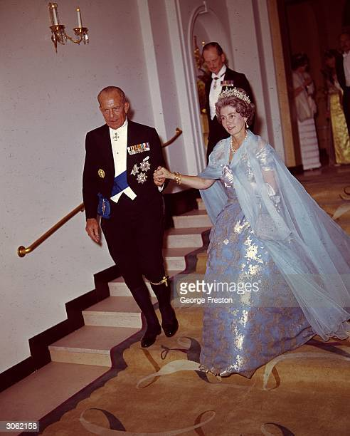 King Paul and Queen Frederika of Greece leaving Claridges after a ball held in their honour.