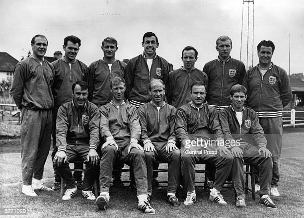The England football team chosen for their World Cup match against Uruguay, at Wembley Amateur FC ground. Front row, from left: Jimmy Greaves, Jackie...