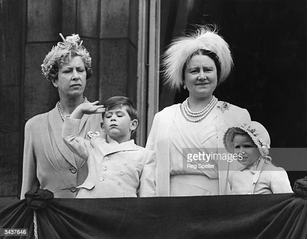 Princess Mary the Princess Royal with Queen Elizabeth the Queen Mother and Prince Charles and Princess Anne on the balcony of Buckingham Palace