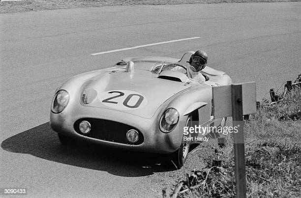 Formula 1 motorracing driver Pierre Levegh driving his Mercedes at Le Mans just before his fatal crash which resulted not only in his death but also...