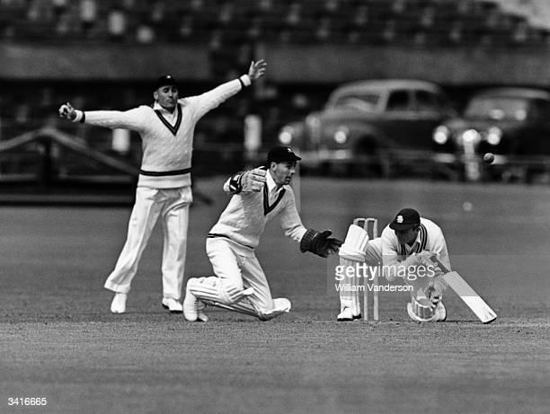 South Africa v Nottinghamshire at Trent bridge, Nottingham, Cyril Poole batting, John Waite wicket keeper. Original Publication: Picture Post - 7804...